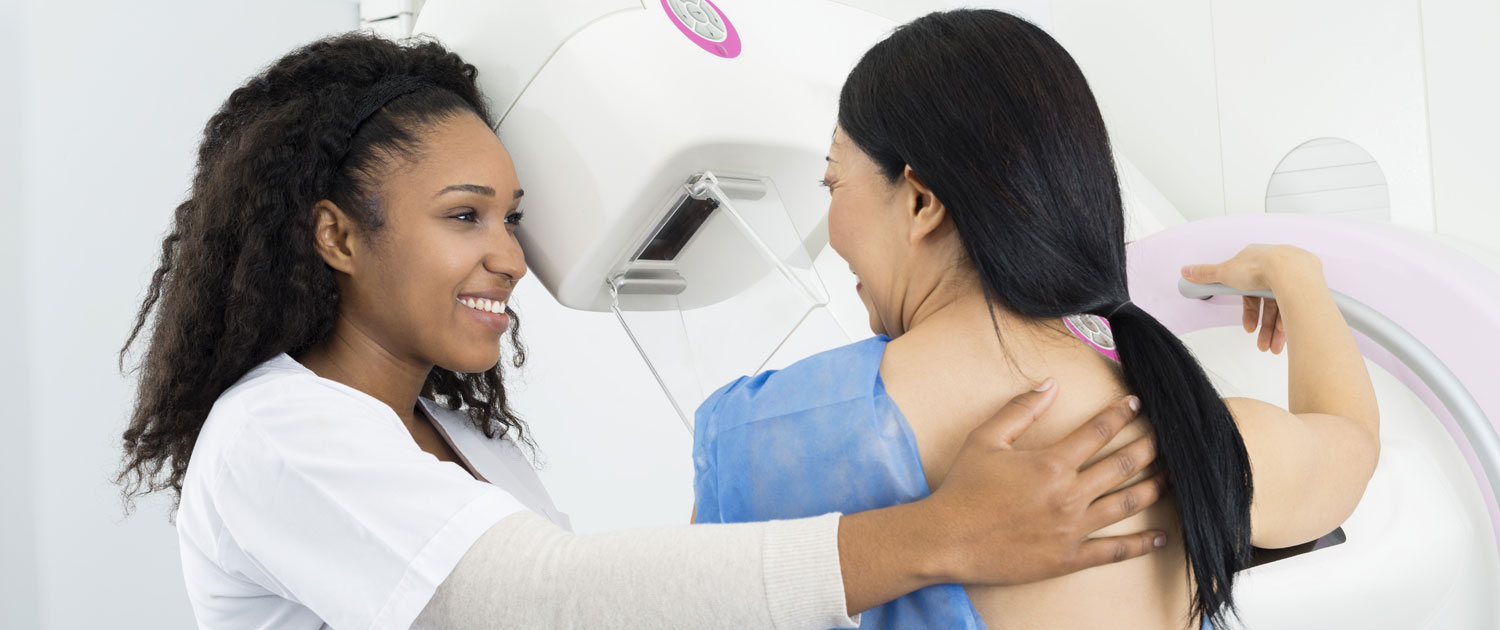 Mammogram Technician with Patient